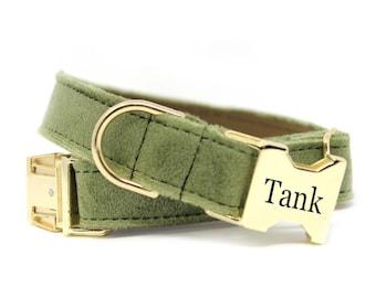 Velvet Dog Collar, Engraved Velvet Dog Collar, Olive Velvet Dog Collar