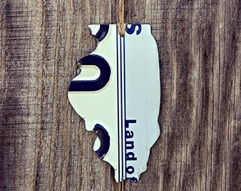 """Upcycled Illinois License Plate """"State of Illinois"""" Ornament"""