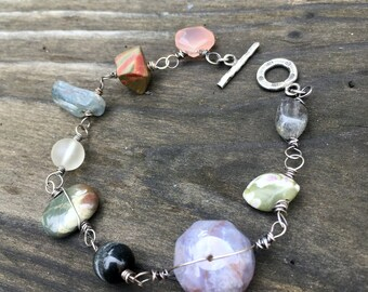 Path of gratitude bracelet oxidized sterling silver and mixed gemstones OOAK