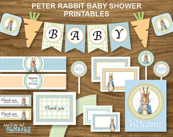 Peter Rabbit Baby Shower, Printable Peter Rabbit Party Decorations with blue background, INSTANT DOWNLOAD, digital file