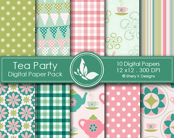 Tea Party Paper Pack - 10 printable Digital Scrapbooking papers - 12 x12 - 300 DPI