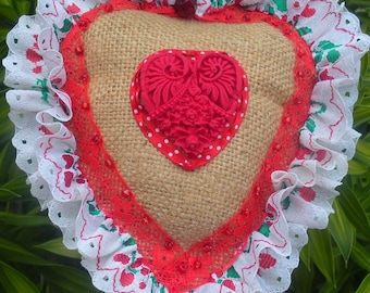 Country Shabby Chic  Burlap Heart Pin Cushion with Polymer Clay Heart, Pins Collection Display, Wedding Shower Gift.