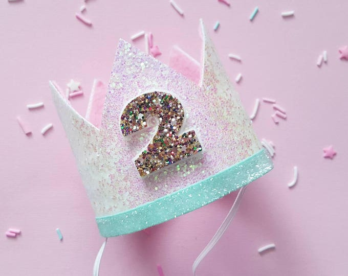 Glittery Birthday Crown | Birthday Crown | 2nd Birthday Crown | Girl Birthday Crown | Baby Birthday | Pink and confetti | Ready to Ship