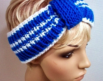 Ear Warmer Headband Cheerleader Sports College University Kentucky Blue White Indianapolis