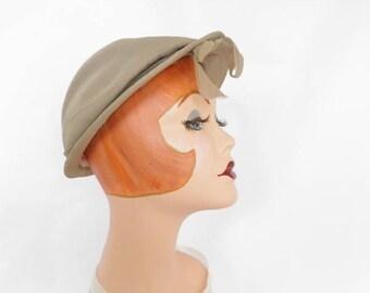 1950s Saks hat, vintage woman's 50s/60s taupe cap