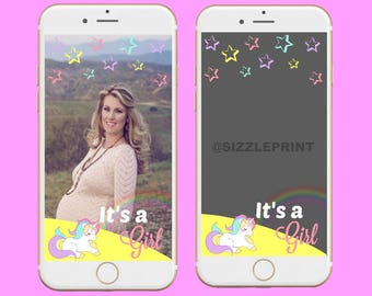 BABY SHOWER GEOFILTER  Plus Family & Friends Message   Custom Personalized Snapchat Geofilter   Girl Baby Shower   Unicorn