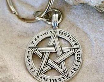 Pewter Pentagram Pagan Wiccan Pentacle with Ancient Runes Keychain (50G)