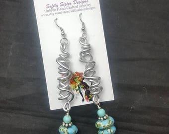 Krobo Beads, Dangle Earrings, Ghana Krobo Beads, African Beads, African Glass Beads, Ghana  Beads, African , Afrocentric Earrings