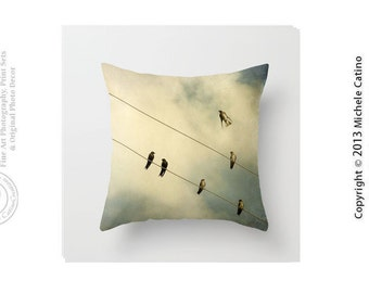 Birds on Wire Pillow Cover Flying Birds Silhouette Pillow Cover Tans Blue Sky Clouds Bird on Wire Throw Pillow Cover 16x16