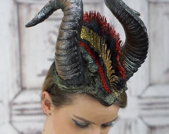 Horned Headdress, Mohawk Headpiece, horned Mohawk, Tribal Headdress, Demon Horns, Dark Fae, Maenad, Costume Headdress, Cosplay, Rams Horns