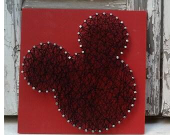 Cadena hecha a mano arte, arte del clavo, firmar, Mickey Mouse, decoración de la pared