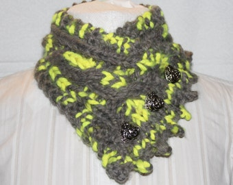 Fishermans Wife Cowl, Chunky Scarf, Knitted Cowl, Cable Knit Scarf, Color Name Toucan (Grey % Flourescent Yellow)