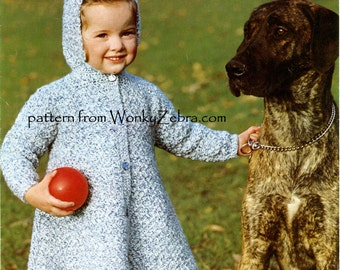 Vintage Crochet Coat Pattern PDF B081 from WonkyZebraBaby