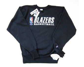 vintage sweatshirt / Champion sweatshirt / Portland Blazers / 1990s NOS Champion Reverse Weave Blazers sweatshirt Large