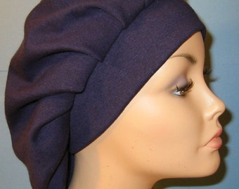 Womens Navy Pleated Snood, Hijab, Hair Loss, Chef Hat