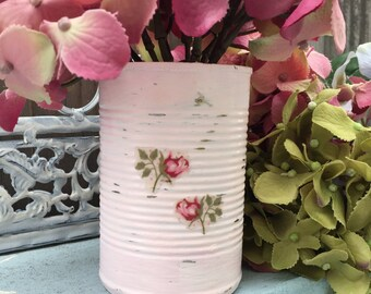 Pink Shabby Chic Painted Decoupage Roses Tin Can Vase Table Centerpieces Bridal Wedding Home Dorm Nursery Decorations Decor Gift