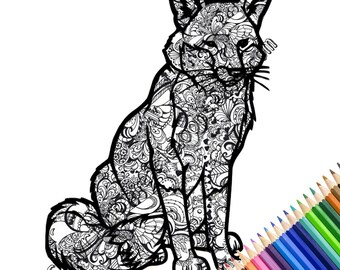 INSTANT DOWNLOAD // DIY // Printable Coloring Page // fox coloring page // adult coloring book // colouring pageUnique coloring page