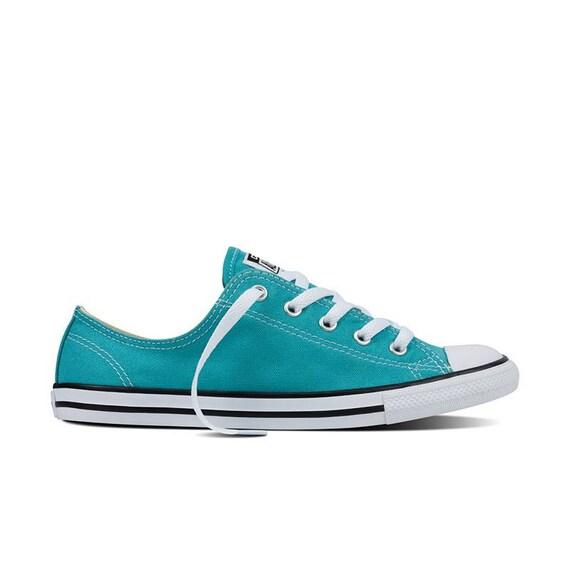 Converse Dainty Slip on Teal Blue Turquoise Bridal Wedding Kicks w/ Swarovski Crystal Rhinestone Bling Chuck Taylor All Star Sneakers Shoes
