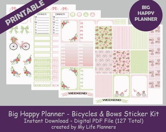Bicycles & Bows BIG Happy Planner Printable Stickers, Weekly Kit, Planner Kit, Planner Stickers, BIG Happy Planner, Instant PDF Download