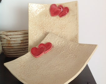 Hearts and Flowers Handmade Ceramic Platter