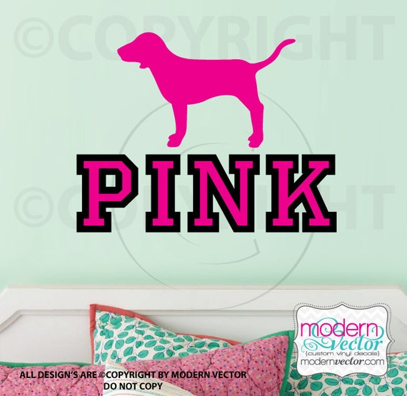 Victoria's Secret PINK logo with Dog Vinyl Wall Decal - photo#26