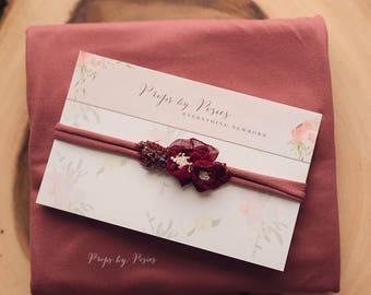 Burgundy, Winter Berry Newborn Stretch Wrap with Headband - Newborn Photography Prop