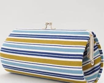 Stripes in Blue..Small Clutch Purse