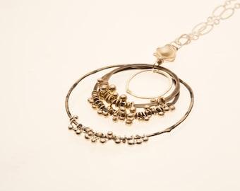 Yone Necklace - fine silver barbells, oxidized silver, circle, geometric