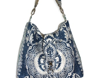 Hobo Bag Purse, Slouchy Purse, Fabric Hobo Bag, Shoulder Bag, Blue Tan Purse, Fabric Bag, Blue Shoulder Bag, Mother's Day Gift, Summer Bag