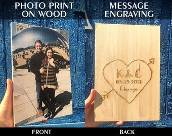 Anniversary Photo Gift - Personalised Wooden Engraved Photo Print - 5th Wedding Anniversary Print - Wood Anniversary Gift - Engraved Photo