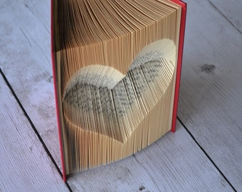 The Inverted Heart - Reader's Digest Condensed Books - Red - Folded Book Art - Recycled Repurposed, Reclaimed - Paper Anniversary - Wedding