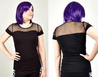 Black Fishnet and Cotton Sweetheart Neckline Shirt XS S M L XL 2XL sheer net short sleeved top punk goth gothic stretch spandex crew neck