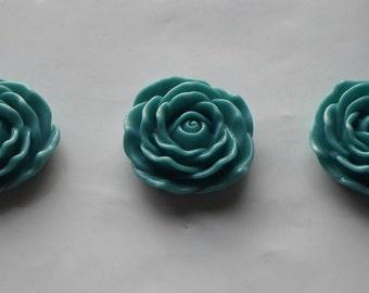 3 x Huge Flat Back Resin Teal Rose Flower Focal Beads 45mm- Crafts/Jewellery/Knitting