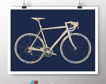 Road Bike Street Map Bicycle Art on Premium Archival Matte Paper
