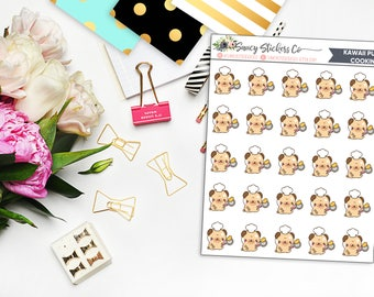Kawaii Pug Cooking Planner Stickers | for use with Erin Condren Lifeplanner™, Happy Planner