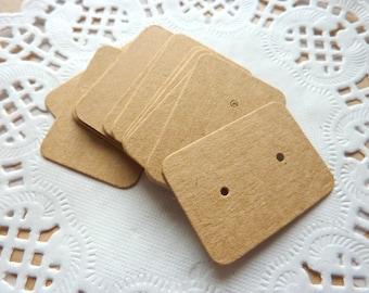 50 Small Brown Kraft Earrings Display Cards Crafts