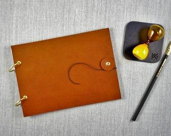 Sketchbook cover, leather sketchbook cover, in BROWN