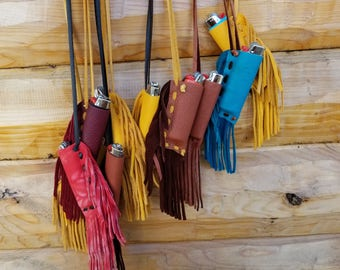 Lighter Holder Deerskin with Hand-cut Fringe ONE: We Choose For You- Colors Vary