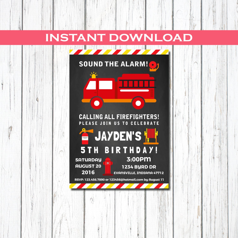 Firefighter Invitation Fireman Party Invitation Firefighter