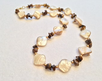 White Necklace, Brown Necklace, Tiger Eye Stone, Ivory Mother of Pearl Nuggets, Brown Tiger Eye Chips, Gold Accent Beads Necklace