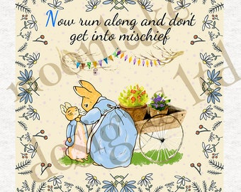 Peter Rabbit and Mum with Quote | Quilting | Sewing | Craft | Printed Fabric Panels