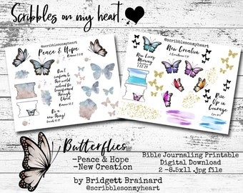 Butterflies Bible Journaling Printable, New Creation, Peace & Hope