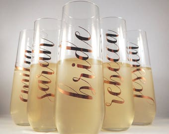 Personalised Vertical Name Stemless Champagne Flute