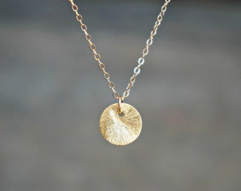 Brushed Gold Disc Necklace / Minimalist Textured 24k Gold Disc Pendant on a Gold Filled Chain