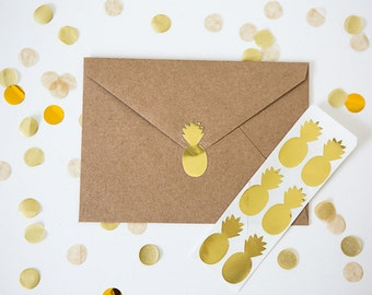 32 Metallic Gold Stickers // Pineapple