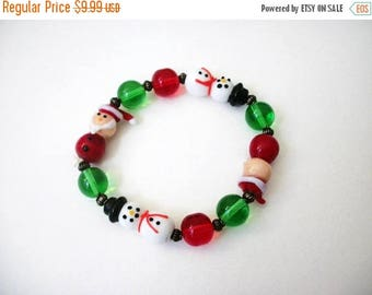 ON SALE Vintage Christmas Lamp Work Glass Beads Stretch Bracelet 101816