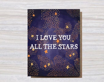 I LOVE YOU all the Stars | A2 Size | Greeting Card | I love you | LOVE