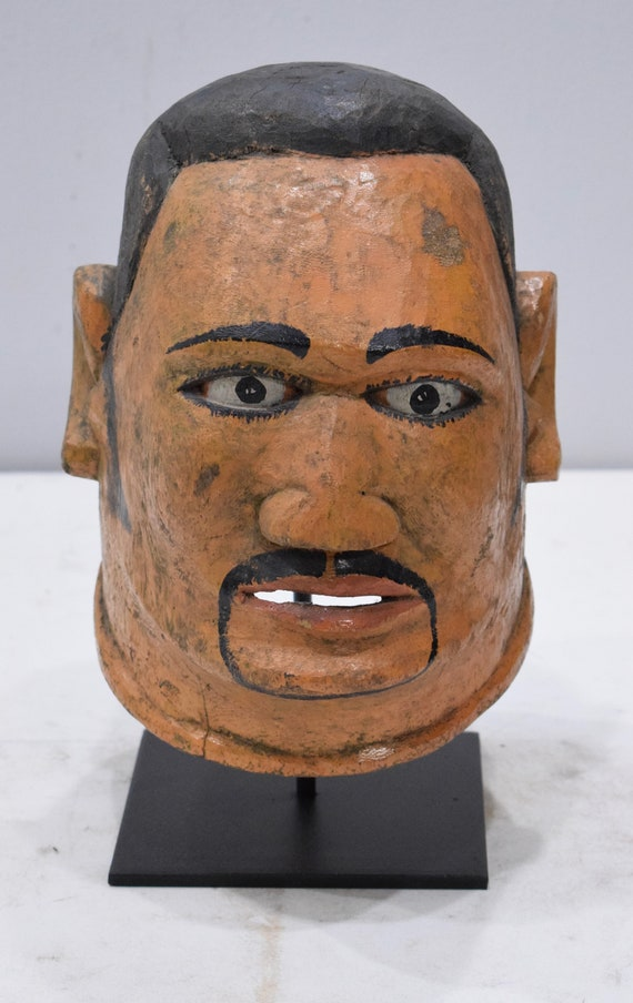"African Mask Makonde Helmet Painted Wood Male Tanzania Mask 10"""