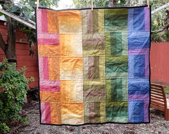 Modern Rainbow Striped Squares Baby Blanket / Lap Quilt