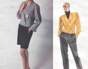 80s Perry Ellis Womens Jacket & Raised Waist Shorts and Pants Vogue Sewing Pattern 2113 Size 14 Bust 36 UnCut Vogue American Designer